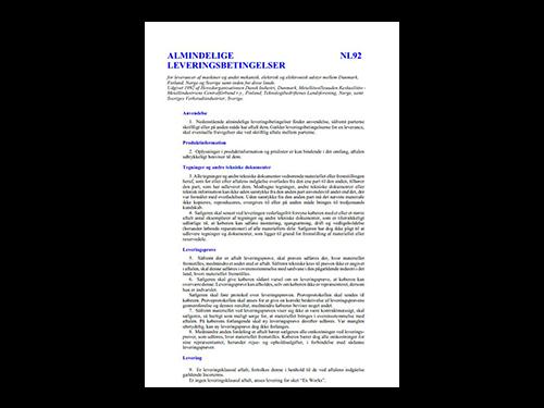 Leveringsbetingelser NL92 dansk version